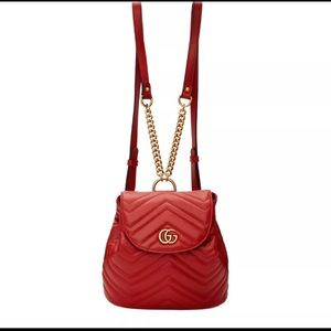 Gucci Red Quilted Leather Marmont Backpack 528129